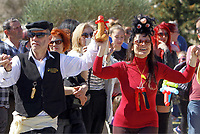 Pictured: People dance holding penis shaped items in Tirnavos, central Greece. Monday 11 March 2019<br /> Re: Bourani (or Burani) the infamous annual carnival which dates to 1898 which takes place on the day of (Clean Monday), the first days of Lent in Tirnavos, central Greece, in which men hold phallus shaped objects as scepters in their hands.