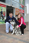 "Mark Cumiskey and Karen Doherty with Sasha enjoying ""National Dog Walking Day"" at Petmania...(Photo credit should read Jenny Matthews www.newsfile.ie)....This Picture has been sent you under the conditions enclosed by:.Newsfile Ltd..The Studio,.Millmount Abbey,.Drogheda,.Co Meath..Ireland..Tel: +353(0)41-9871240.Fax: +353(0)41-9871260.GSM: +353(0)86-2500958.email: pictures@newsfile.ie.www.newsfile.ie."