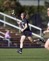 University at Albany attacker Jodi Battaglia (20) advances the ball. University at Albany defeated Boston College, 11-10, at Newton Campus Field, on March 30, 2011.