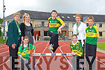 ..Donal Geaney jumps the hurdle to launch the Kerry Community Games finals which will be held in An Riocht Athletic Track Castleisland next Saturday and Sunday week watching was l-r: Margaret Culloty, Paris McDonagh, Maria Rohan Kerry Group, Danielle Reidy, Patsy O'Connell and Michael Prenderville..