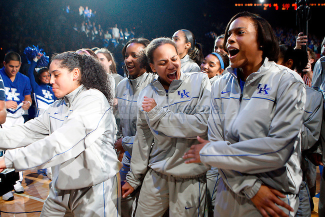 The UK women's basketball team dances on the floor at Big Blue Madness at Rupp Arena on Friday, Oct. 15, 2010. Photo by Britney McIntosh | Staff