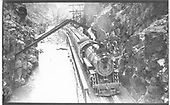 D&amp;RGW Pacific #805 with 4-car excursion train at the Hanging Bridge in Royal Gorge.<br /> D&amp;RGW  Royal Gorge, CO  Taken by Perry, Otto C. - 8/19/1934
