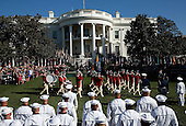 Pope Francis and U.S. President Barack Obama review the U.S. Army's Old Guard Fife and Drum Corps during the arrival ceremony at the White House on September 23, 2015 in Washington, DC. The Pope begins his first trip to the United States at the White House followed by a visit to St. Matthew's Cathedral, and will then hold a Mass on the grounds of the Basilica of the National Shrine of the Immaculate Conception.  <br /> Credit: Win McNamee / Pool via CNP