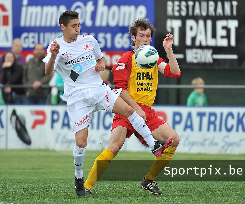 Eendracht Wervik - KV Kortrijk : duel tussen Sofyan Derrag (links) en Marvin D'Halluin<br /> foto VDB / Bart Vandenbroucke