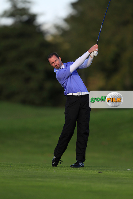 Eamonn Brady (Clontarf G.C) on the 13th tee during Round 1 of The Cassidy Golf 103rd Irish PGA Championship in Roganstown Golf Club on Thursday 10th October 2013.<br /> Picture:  Thos Caffrey / www.golffile.ie