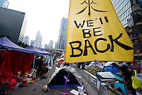 HONG KONG - DECEMBER 11: In the Occupy Central pro-democracy camp a slogan promises 'We will be back' on December 11, 2014 in Hong Kong. (Photo by Lucas Schifres/Getty Images)