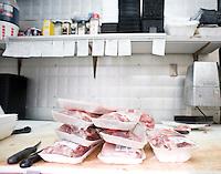 The meat cutting room in Elias' Butcher Shop in Roanoke Rapids, North Carolina.