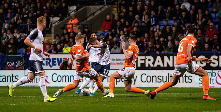 Bolton Wanderers' Thibaud Verlinden (centre) shoots<br /> <br /> Photographer Andrew Kearns/CameraSport<br /> <br /> The EFL Sky Bet League One - Bolton Wanderers v Blackpool - Monday 7th October 2019 - University of Bolton Stadium - Bolton<br /> <br /> World Copyright © 2019 CameraSport. All rights reserved. 43 Linden Ave. Countesthorpe. Leicester. England. LE8 5PG - Tel: +44 (0) 116 277 4147 - admin@camerasport.com - www.camerasport.com