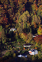 20/10/12  ..The first light of the day illuminates autumn colour surrounding houses on the valley side in the The Village of Symonds Yat West ...Looking like a fairytale world, the autumn colours, in the Wye Valley viewed from Symonds Yat Rock, near Ross on Wye, are thought to be some of the most spectacular in Britain. The River Wye runs close to the Welsh border here as it crosses the English counties of Herefordshire and Gloucestershire...All Rights Reserved - F Stop Press.  www.fstoppress.com. Tel: +44 (0)1335 300098.Copyrighted Image. Fees charged will reflect previously agreed terms or space rates for individual publications, states or country.