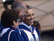 Washington, DC - May 7, 2016: U.S. President Barack Obama shares a laugh with Vernon E. Jordan before delivering the keynote address at Howard University's 148th Commencement Convocation May 7, 2016. Obama is the sixth sitting U.S. president to deliver the commencement address at Howard.  (Photo by Don Baxter/Media Images International)