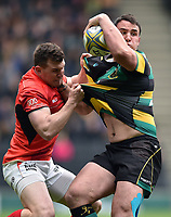 Louis Picamoles of Northampton Saints looks to offload the ball after being tackled. Aviva Premiership match, between Northampton Saints and Saracens on April 16, 2017 at Stadium mk in Milton Keynes, England. Photo by: Patrick Khachfe / JMP