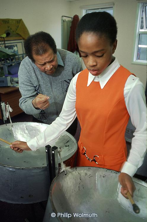 Clyde Dias teaches steel pan at Wellbourne Primare School, Haringey, North London.