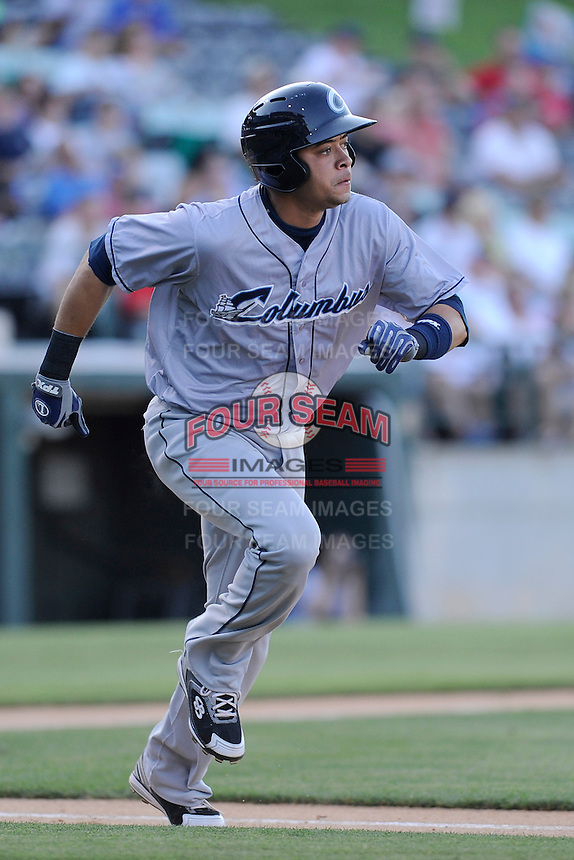Shortstop Juan Diaz (46) of the Columbus Clippers in a game against the Charlotte Knights on Saturday, June 15, 2013, at Knights Stadium in Fort Mill, South Carolina. Columbus won, 4-2. (Tom Priddy/Four Seam Images)