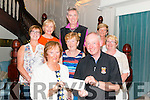 Eileen O'Reilly (Lady Captain form St Finnans Golf Society) prestentin a cheque for €542.70 to Gerry Adams from Lime Grove Recovery and Therapeutic Centre, Killarney in the Avenue Hotel, Killarney last Friday night. Middle L-R Patricia Lynch, Kathleen Wrenn and Noreen O'Meara, Back L-R Mary Joy Kelly, Tony Nolan and Sarah Scanlon.