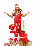 Woman dropped Christmas gift boxes on the floor. Isolated on white background with clipping path.