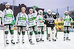 Stockholm 2014-03-01 Bandy SM-semifinal 1 Hammarby IF - V&auml;ster&aring;s SK :  <br /> V&auml;ster&aring;s Ted Bergstr&ouml;m &auml;r glad efter matchen tillsammans med lagkamrater<br /> (Foto: Kenta J&ouml;nsson) Nyckelord:  VSK Bajen HIF jubel gl&auml;dje lycka glad happy glad gl&auml;dje lycka leende ler le