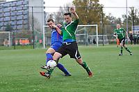 Heerenveense Boys - Zwaagwesteinde, Sietze Bosma (#2), John Teijen (#3), Rene Vellinga (#9), uitslag 2-3, ©foto Martin de Jong