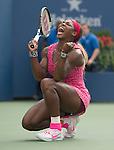 Serena Williams (USA)  celebrates 6-1, 6-3 semifinal victory over Ekaterina Makarova (RUS)