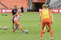 Houston, TX - Saturday July 15, 2017: Camille Levin warming up during a regular season National Women's Soccer League (NWSL) match between the Houston Dash and the Washington Spirit at BBVA Compass Stadium.