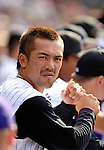 10 September 2006: Kazuo Matsui, second baseman for the Colorado Rockies, awaits his at-bat in the dugout during a game against the Washington Nationals. The Rockies defeated the Nationals 13-9 at Coors Field in Denver, Colorado...Mandatory Photo Credit: Ed Wolfstein.