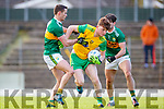Shane Enright and Cormac Coffey Kerry in action against Niall O'Donnell Donegal in the Allianz Football League Division 1 Round 1 match between Kerry and Donegal at Fitzgerald Stadium in Killarney, Co. Kerry.