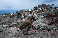 One of the soldier is washing his face outside his room, Kunar, Afghanistan, 16th November 2017. <br /> <br /> Un soldat lave son visage en dehors de sa chambre, Kunar, Afghanistan, 16 novembre 2017.