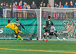 15 November 2015: University of Vermont Catamount Forward Brian Wright, a Junior from Ajax, Ontario, scores the game winning goal against the Binghamton University Bearcats at Virtue Field in Burlington, Vermont. The Catamounts shut out the Bearcats 1-0 in the America East Championship Game. Mandatory Credit: Ed Wolfstein Photo *** RAW (NEF) Image File Available ***