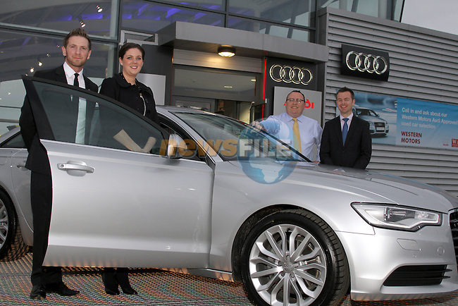 Robbie Matthews, Western Motors, Aine Phillips, Audi Ireland, Simon McCormack, Western Motors and Vincent Delettre, Audi Ireland at the Launch of the new Audi A6 Launch...(Photo credit should read Jenny Matthews www.newsfile.ie)....This Picture has been sent you under the conditions enclosed by:.Newsfile Ltd..The Studio,.Millmount Abbey,.Drogheda,.Co Meath..Ireland..Tel: +353(0)41-9871240.Fax: +353(0)41-9871260.GSM: +353(0)86-2500958.email: pictures@newsfile.ie.www.newsfile.ie.