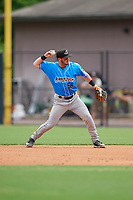 Akron RubberDucks second baseman Tyler Friis (38) throws to first base during an Eastern League game against the Bowie Baysox on May 30, 2019 at Prince George's Stadium in Bowie, Maryland.  Akron defeated Bowie 9-5.  (Mike Janes/Four Seam Images)