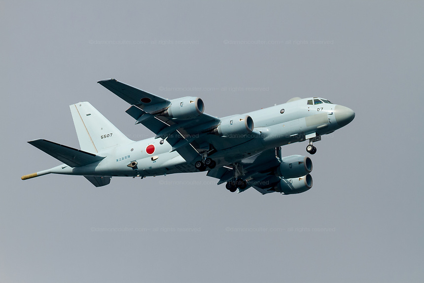 A Kawasaki P1 Maritime patrol aircraft flying with the Japanese Maritime Self Defence Force flies over Chou Rinkan in Kanagawa, Japan. Tuesday May 31st 2016