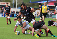 Ben Tapuai of Bath Rugby in action with Billy Vunipola of Saracens during the Aviva Premiership match between Saracens and Bath Rugby at Allianz Park, Hendon, England on 26 March 2017. Photo by Stewart  Wright  / PRiME Media Images.