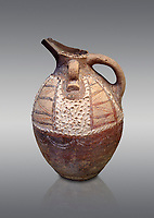 Minoan Kamares Ware ewer jug with polychrome & spiked decorations , Phaistos 1800-1700 BC; Heraklion Archaeological  Museum, grey background.<br /> <br /> This style of pottery is named afetr Kamares cave where this style of pottery was first found