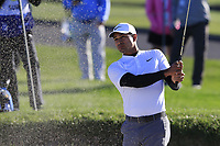 Julian Suri (USA) chips from a bunker at the 6th green during Sunday's Final Round of the 2018 AT&amp;T Pebble Beach Pro-Am, held on Pebble Beach Golf Course, Monterey,  California, USA. 11th February 2018.<br /> Picture: Eoin Clarke | Golffile<br /> <br /> <br /> All photos usage must carry mandatory copyright credit (&copy; Golffile | Eoin Clarke)