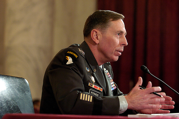 Army Lt. Gen. David Petraeus answers questions before the Armed Services Committee Tuesday, Jan. 23, 2007 regarding his nomination as general and commander of the multi-national forces in Iraq. Gen. Petraeus wrote the Pentagon briefing on dealing with insurgents. (Barbara L. Salisbury for Roll Call)