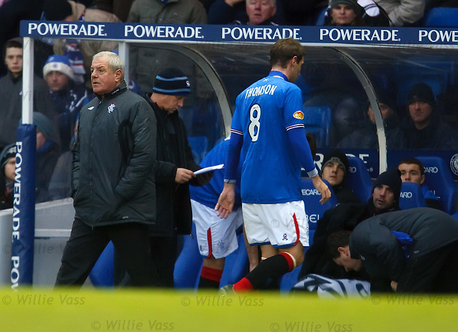 Kevin Thomson walks off past Walter Smith