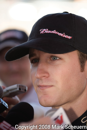 15 August 2008: Kasey Kahne is interviewed by reporters at the 3M Performance 400 at Michigan International Speedway, Brooklyn, Michigan, USA.