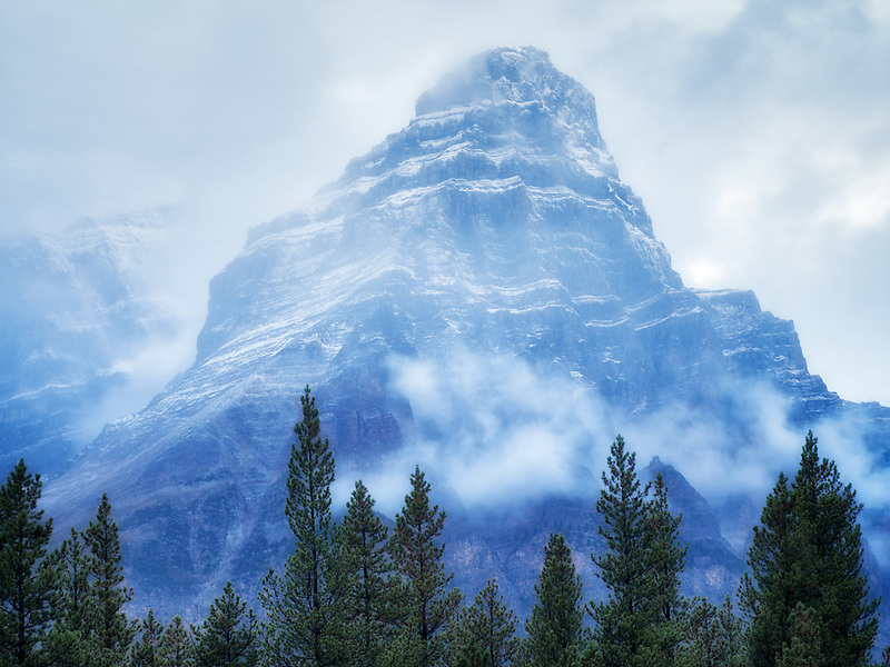 Mt. Chephren in fog and rain/snow. Banff National Park, Alberta, Canada