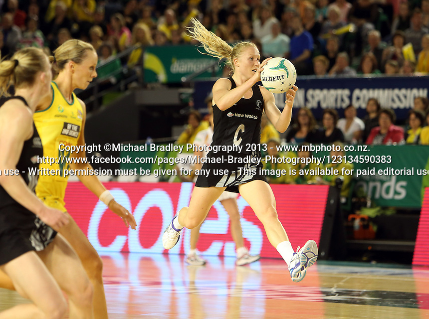 07.10.2013 Silver Fern Laura Langman in action during the Silver Ferns V Australian Diamonds Netball Series played at the Rod Laver Arena in Melbourne Australia. Mandatory Photo Credit ©Michael Bradley.