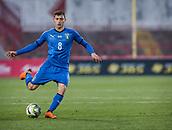 27th March 2018, Karadjorde Stadium, Novi Sad, Serbia; Under 21 International Football Friendly, Serbia U21 versus Italy U21; Midfielder Nicolo Barella of Italy in action with the ball