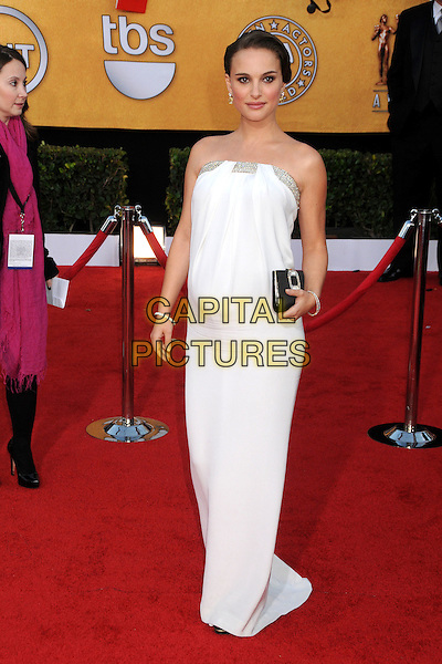 NATALIE PORTMAN.17th Annual Screen Actors Guild Awards held at The Shrine Auditorium, Los Angeles, California, USA..January 30th, 2011.SAG full length white strapless maxi dress pregnant silver trim black clutch bag.CAP/ADM/BP.©Byron Purvis/AdMedia/Capital Pictures.
