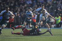 Sam Harrison of Leicester Tigers breaks through the tackle   of Schalk Brits of Saracens during the Premiership Rugby match between Saracens and Leicester Tigers - 02/01/2016 - Allianz Park, London<br /> Mandatory Credit: Rob Munro/Stewart Communications