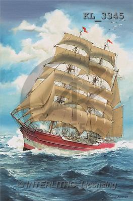 Interlitho, Luis, LANDSCAPES, paintings, sailing ship(KL3345,#L#) Landschaften, Schiffe, paisajes, barcos, llustrations, pinturas
