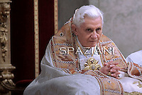 Pope Benedict XVI during the vesper prayers for the Presentation of the Lord feast  at St Peter's Basilica at The Vatican. 02 February 2011
