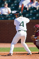 Stephen Perez #4 of the Miami Hurricanes at bat against the Florida State Seminoles at the 2010 ACC Baseball Tournament at NewBridge Bank Park May 26, 2010, in Greensboro, North Carolina.  The Hurricanes defeated the Seminoles 9-3.  Photo by Brian Westerholt / Four Seam Images