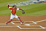 12 October 2012: Washington Nationals catcher Kurt Suzuki in action during Postseason Playoff Game 5 of the National League Divisional Series against the St. Louis Cardinals at Nationals Park in Washington, DC. The Cardinals rallied with four runs in the 9th inning to defeat the Nationals 9-7; thus winning the NLDS and moving on to the NL Championship Series. Mandatory Credit: Ed Wolfstein Photo