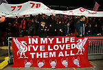 Liverpool fans cheer on their team during the Champions League Quarter Final 1st Leg, match at Anfield Stadium, Liverpool. Picture date: 4th April 2018. Picture credit should read: Simon Bellis/Sportimage
