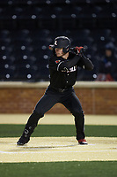 Luke Brown (8) of the Louisville Cardinals at bat against the Wake Forest Demon Deacons at David F. Couch Ballpark on March 6, 2020 in  Winston-Salem, North Carolina. The Cardinals defeated the Demon Deacons 4-1. (Brian Westerholt/Four Seam Images)