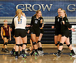 SIOUX FALLS, SD - SEPTEMBER 18: Paige DeJong #12 from Sioux Falls Christian celebrates a point with her teammates against Harrisburg in the second game of their match Thursday night at Sioux Falls Christian. (Photo by Dave Eggen/Inertia)