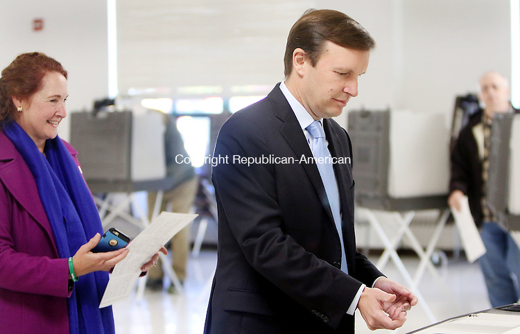 CHESHIRE CT. 08 November 2016-110816SV03-Rep. Elizabeth H. Esty, D-5th District and Sen. Christopher S. Murphy, D-Conn., vote at Cheshire High School in Cheshire Tuesday.<br /> Steven Valenti Republican-American