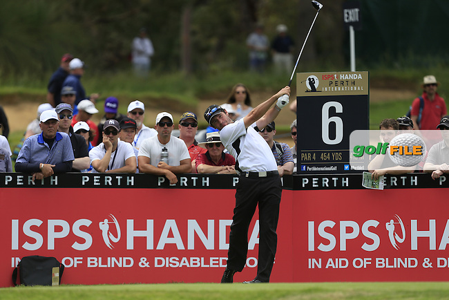Peter Whiteford (SCO) on the 6th tee during Round 3 of the ISPS HANDA Perth International at the Lake Karrinyup Country Club on Saturday 25th October 2014.<br /> Picture:  Thos Caffrey / www.golffile.ie